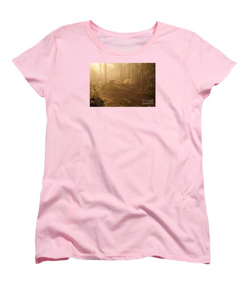Women's T-Shirt (Standard Cut) featuring the photograph Foggy Morning At The Campsite by Larry Ricker