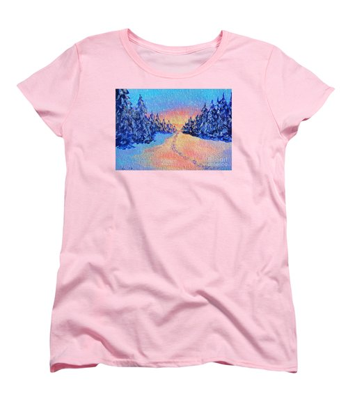 Women's T-Shirt (Standard Cut) featuring the painting Footprints In The Snow by Li Newton