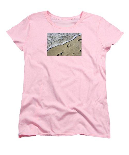 Footprints On The Beach Women's T-Shirt (Standard Cut) by Robb Stan