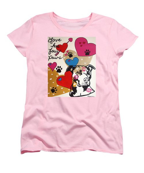 Four Pitty Paws Women's T-Shirt (Standard Cut) by Melissa Goodrich