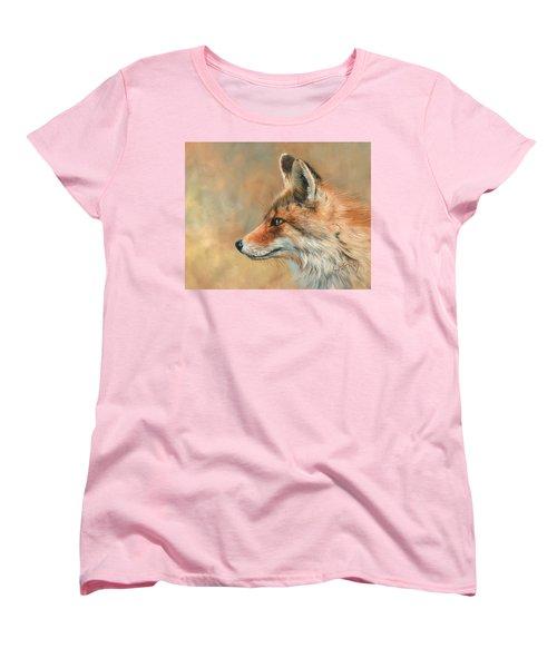 Fox Portrait Women's T-Shirt (Standard Cut) by David Stribbling