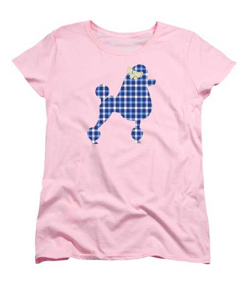 Women's T-Shirt (Standard Cut) featuring the mixed media French Poodle Plaid by Christina Rollo