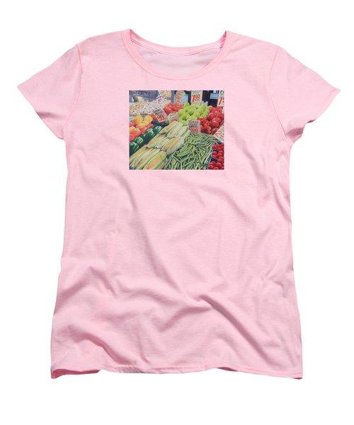 Women's T-Shirt (Standard Cut) featuring the painting Fresh Green Beans by Constance DRESCHER
