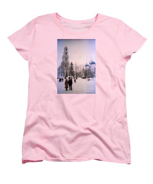 Friends In Front Of Church Women's T-Shirt (Standard Cut) by Ted Pollard