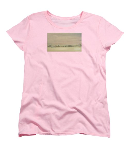 Women's T-Shirt (Standard Cut) featuring the painting Friesland Under Snow by Annemeet Hasidi- van der Leij