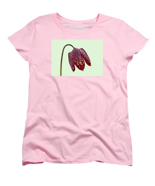 Women's T-Shirt (Standard Cut) featuring the photograph Fritillaria Meleagris Green Background by Paul Gulliver