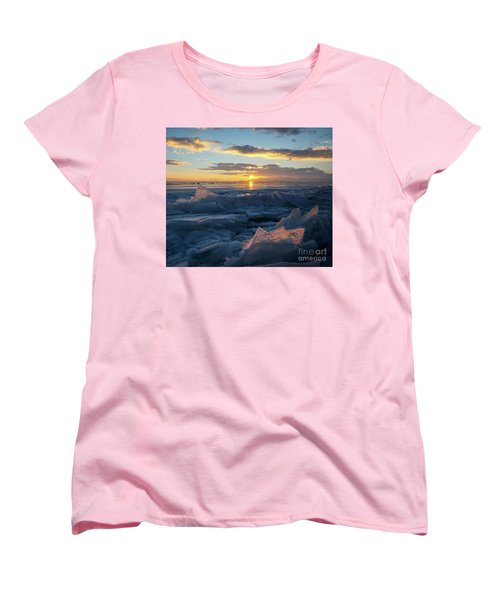 Frozen Sevan Lake And Icicles At Sunset, Armenia Women's T-Shirt (Standard Cut) by Gurgen Bakhshetsyan