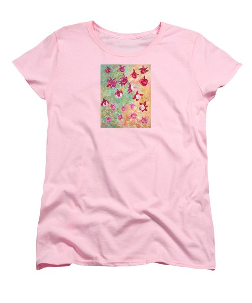 Women's T-Shirt (Standard Cut) featuring the painting Fuchsias by Elizabeth Lock