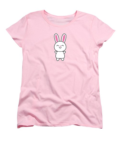 Funny Cute Rabbit Bunny In Pink Women's T-Shirt (Standard Cut) by Philipp Rietz