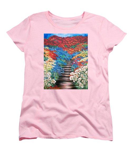 Women's T-Shirt (Standard Cut) featuring the painting Garden Cascade by Sigrid Tune