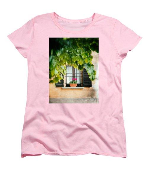 Women's T-Shirt (Standard Cut) featuring the photograph Geraniums On Windowsill by Silvia Ganora