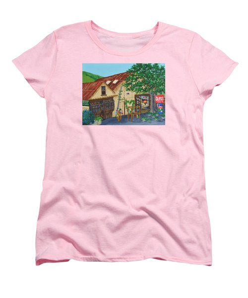 Women's T-Shirt (Standard Cut) featuring the painting Glass Blower Shop Harmony California by Katherine Young-Beck