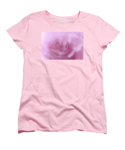 Women's T-Shirt (Standard Cut) featuring the photograph Glowing Pink Rose by Jenny Rainbow