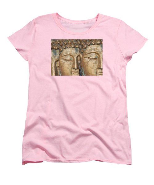 Golden Faces Of Buddha Women's T-Shirt (Standard Cut) by Linda Prewer