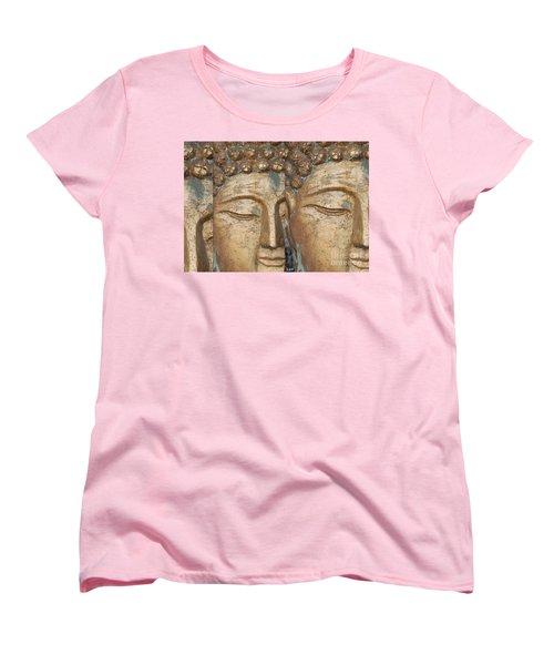 Women's T-Shirt (Standard Cut) featuring the photograph Golden Faces Of Buddha by Linda Prewer
