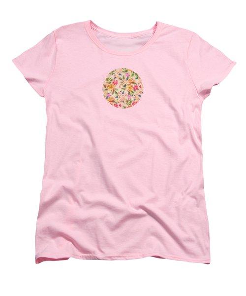Golden Flitch Digital Vintage Retro  Glitched Pastel Flowers  Floral Design Pattern Women's T-Shirt (Standard Cut) by Philipp Rietz
