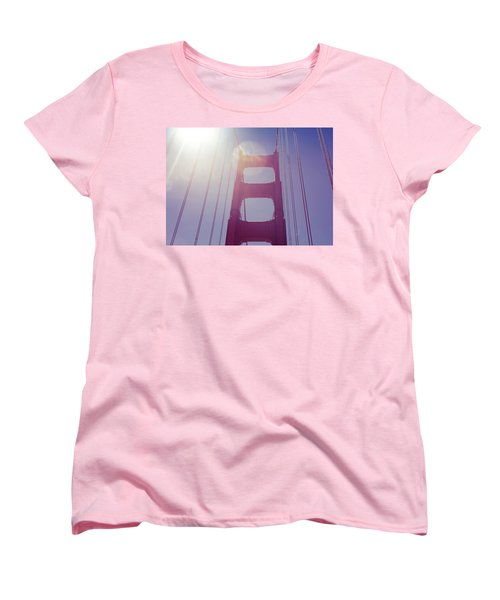 Golden Gate Bridge The Iconic Landmark Of San Francisco Women's T-Shirt (Standard Cut) by Jingjits Photography