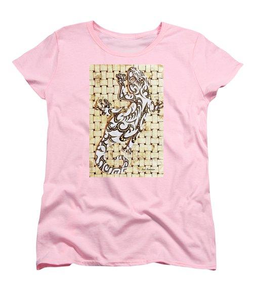 Women's T-Shirt (Standard Cut) featuring the painting Golden Gecko by J- J- Espinoza