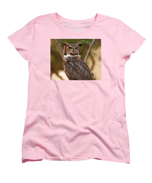 Great Horned Owl In A Tree 3 Women's T-Shirt (Standard Cut) by Chris Flees