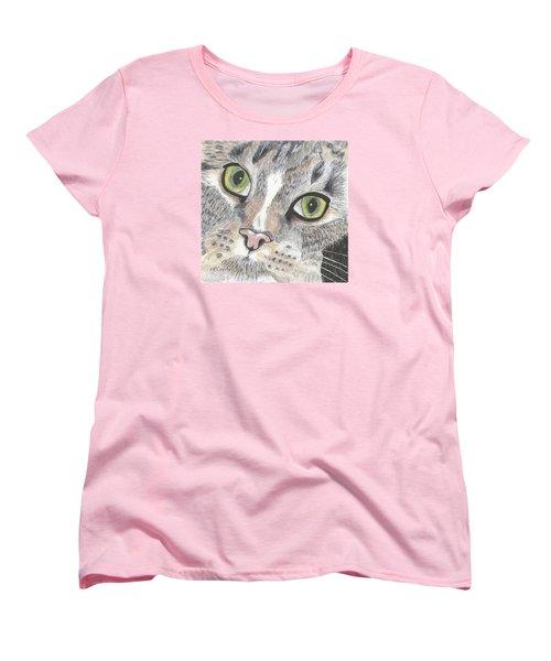 Women's T-Shirt (Standard Cut) featuring the drawing Green Eyes by Arlene Crafton