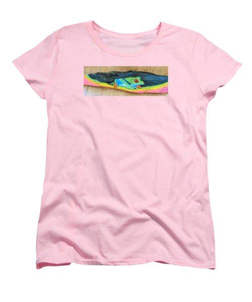 Green Tree Frog Women's T-Shirt (Standard Cut) by Ann Michelle Swadener