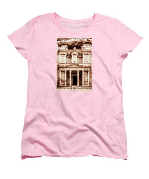 Women's T-Shirt (Standard Cut) featuring the photograph Guarding The Petra Treasury by Nicola Nobile