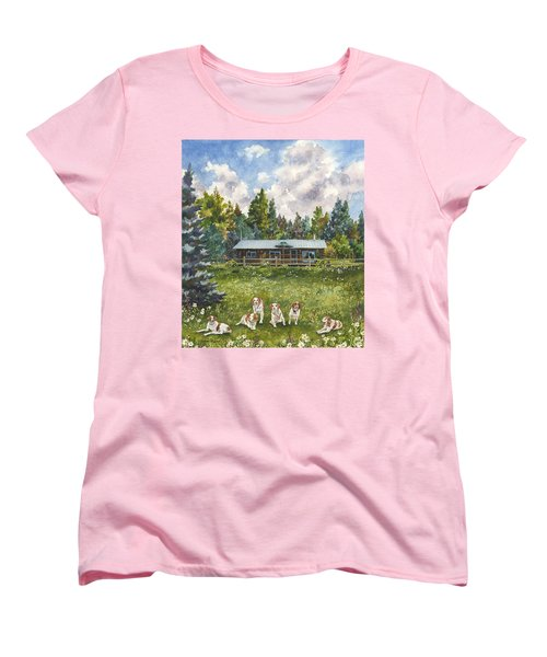 Women's T-Shirt (Standard Cut) featuring the painting Happy Dogs by Anne Gifford