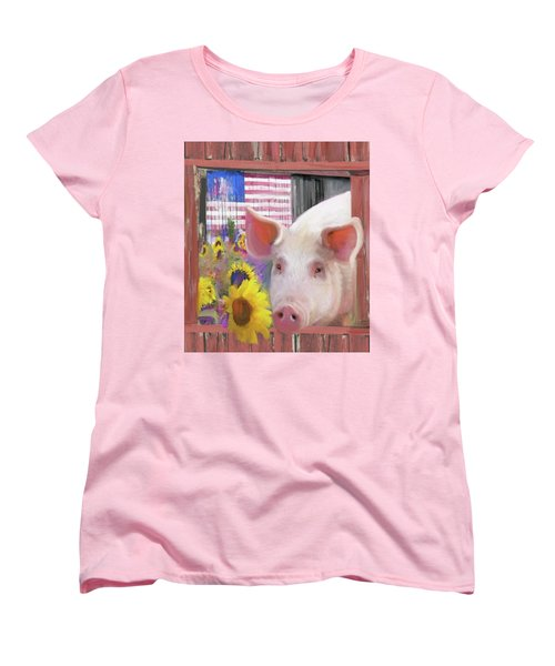 Happy Pig  Women's T-Shirt (Standard Cut) by Julianne Ososke