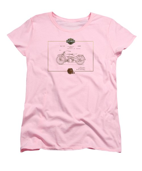 Women's T-Shirt (Standard Cut) featuring the digital art Harley-davidson 1924 Vintage Patent Document  by Serge Averbukh
