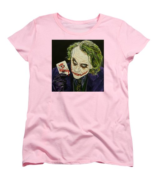 Heath Ledger The Joker Women's T-Shirt (Standard Cut) by David Peninger