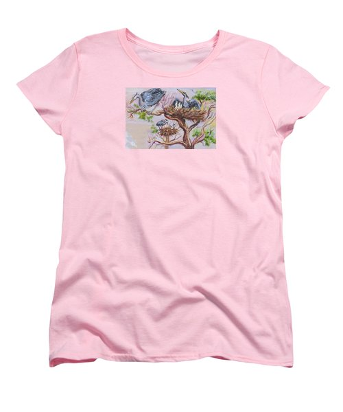 Women's T-Shirt (Standard Cut) featuring the painting Herons At Nests by Dawn Senior-Trask