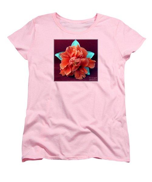 Hibiscus On Glass Women's T-Shirt (Standard Cut) by Barbie Corbett-Newmin