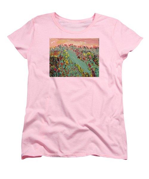 Hillside Flowers Women's T-Shirt (Standard Cut) by Karen Nicholson