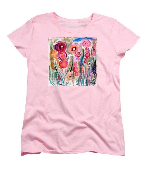 Hollyhocks Of The Garden Women's T-Shirt (Standard Cut) by Mary Carol Williams