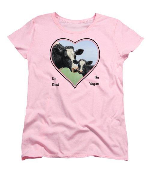Holstein Cow And Calf Pink Heart Vegan Women's T-Shirt (Standard Cut) by Crista Forest