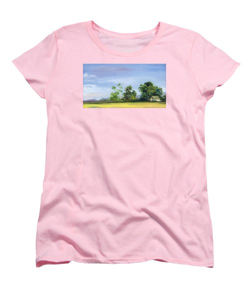 Women's T-Shirt (Standard Cut) featuring the painting Homestead by Jane Autry