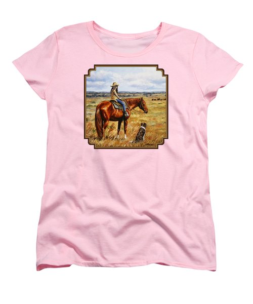 Horse Painting - Waiting For Dad Women's T-Shirt (Standard Fit)