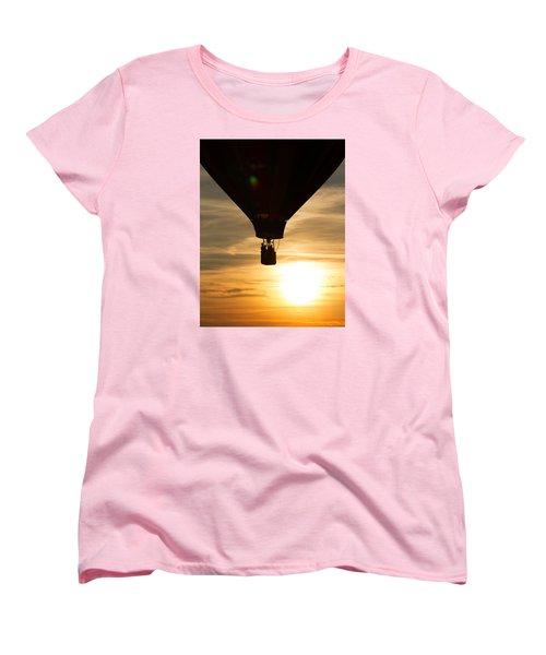 Hot Air Balloon Sunset Silhouette Women's T-Shirt (Standard Cut) by Brian Caldwell