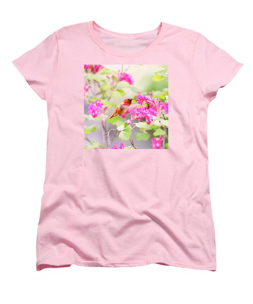 Hummingbird In Spring Women's T-Shirt (Standard Cut) by Peggy Collins
