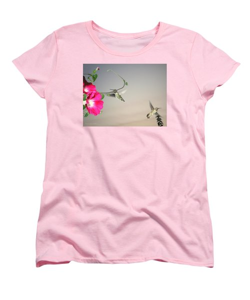Women's T-Shirt (Standard Cut) featuring the photograph Hummingbirds Coming And Going by Joyce Dickens