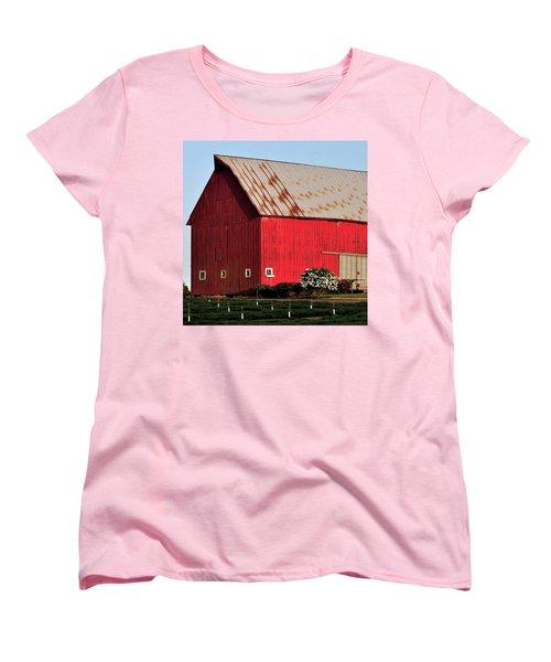 Hwy 47 Red Barn 21x21 Women's T-Shirt (Standard Cut) by Jerry Sodorff