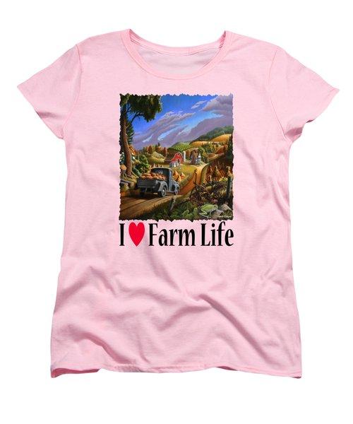 I Love Farm Life - Taking Pumpkins To Market - Appalachian Farm Landscape Women's T-Shirt (Standard Cut) by Walt Curlee