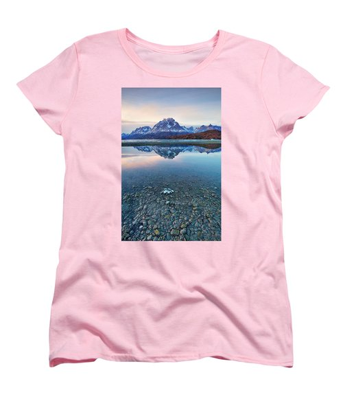 Icebergs And Mountains Of Torres Del Paine National Park Women's T-Shirt (Standard Cut) by Phyllis Peterson