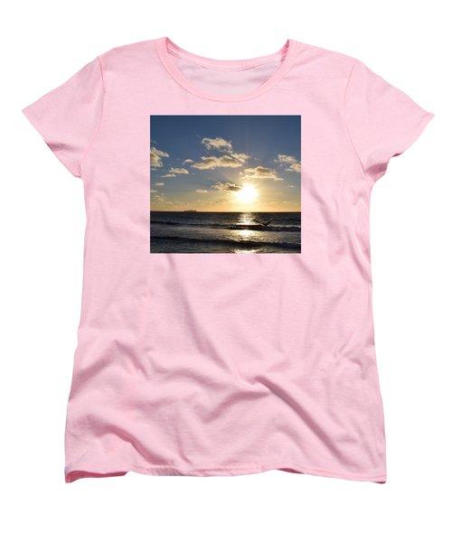 Imperial Beach Sunset Reflection Women's T-Shirt (Standard Cut) by Karen J Shine
