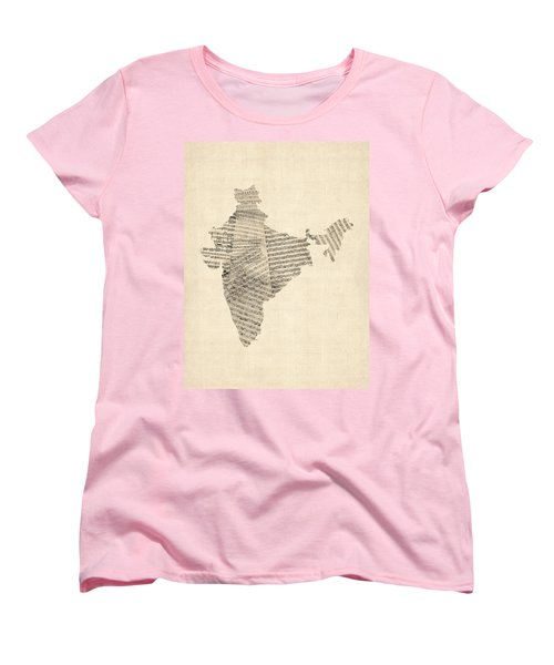 India Map, Old Sheet Music Map Of India Women's T-Shirt (Standard Cut)