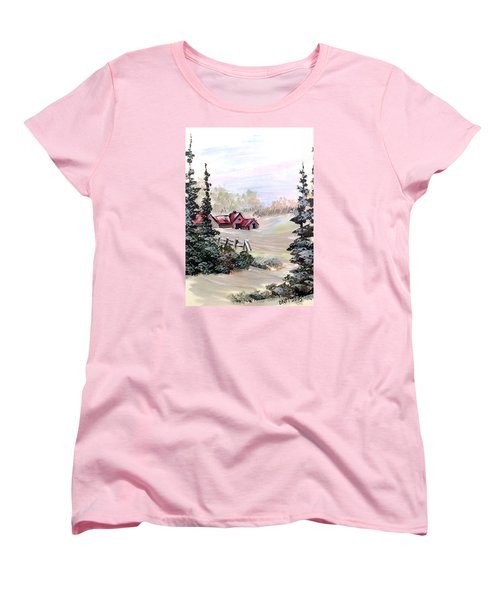 Women's T-Shirt (Standard Cut) featuring the painting It Is Winter - 3 by Dorothy Maier