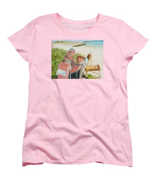 Women's T-Shirt (Standard Cut) featuring the painting Julia Painting At Boynton Inlet Beach  by Donna Walsh
