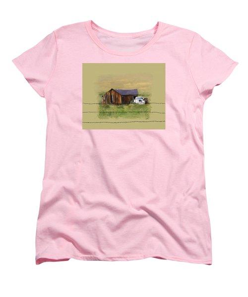 Women's T-Shirt (Standard Cut) featuring the painting Junk Truck by Susan Kinney