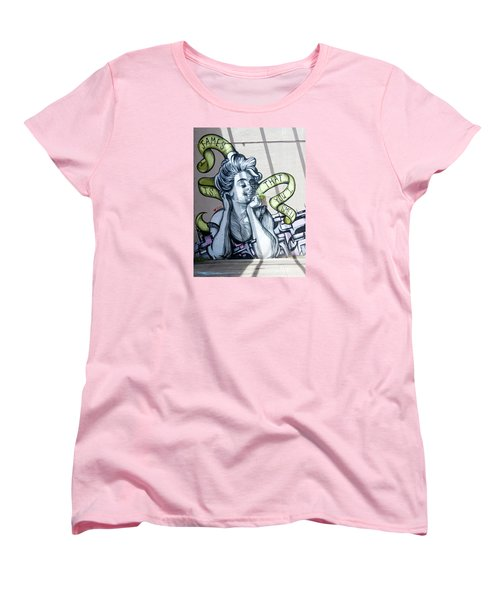 Kevin Bacon And James Corden Mural Women's T-Shirt (Standard Cut) by Jean Haynes