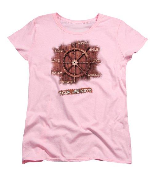 Keys To Happiness Typography On Wooden Helm Women's T-Shirt (Standard Cut) by Georgeta Blanaru